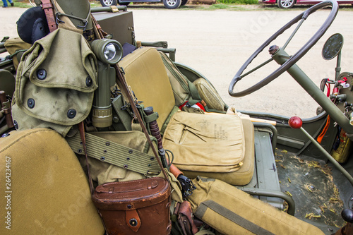 Miscellaneous Military Gear In Open Jeep At Free Local Event
