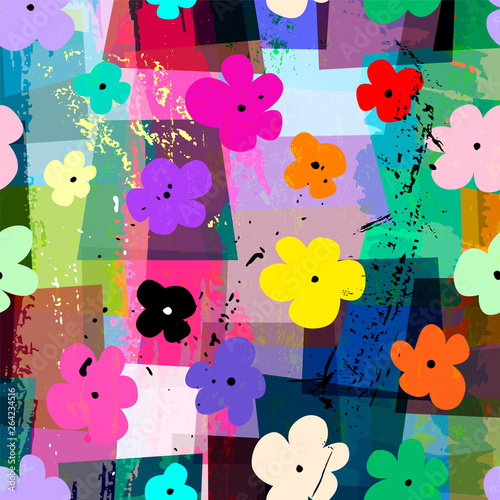 abstract geometric background composition, with paint strokes, splashes and little flowers, seamless pattern