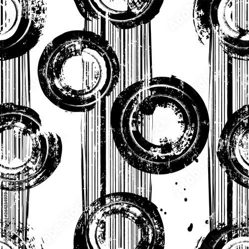 seamless background pattern, with circles, stripes, paint strokes and splashes, black and white