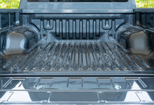 Open Empty Back Of Pickup Truck : Silver Rear Truck Load On Green Leaves Background