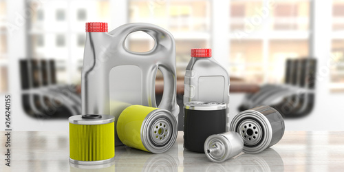 Motor fuel and oil filters and engine oil canisters, blur business background. 3d illustration