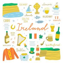 Ireland Travel Elements On Whi...