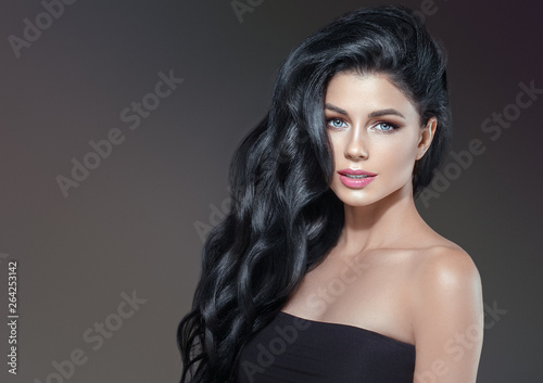 Beautiful hair woman healthy skin and hairstyle
