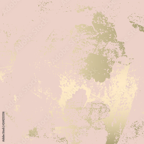 Chic blush pink gold trendy marble grunge texture with floral ornament Fotobehang