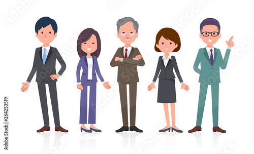 Canvastavla office scene_Business team 5people Stand