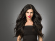 canvas print picture - Beautiful hair woman black long hairstyle model