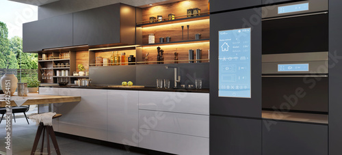 Pinturas sobre lienzo  Smart home control panel in a modern kitchen