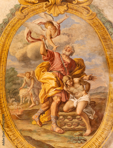 ACIREALE, ITALY - APRIL 11, 2018: The fresco The Sacrifice of Isaac in Duomo - cattedrale di Maria Santissima Annunziata by Pietro Paolo Vasta (1736 - 1739).