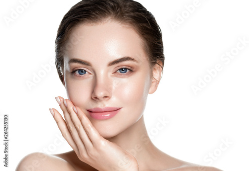 Beauty skin care woman natural makeup female model closeup Poster Mural XXL
