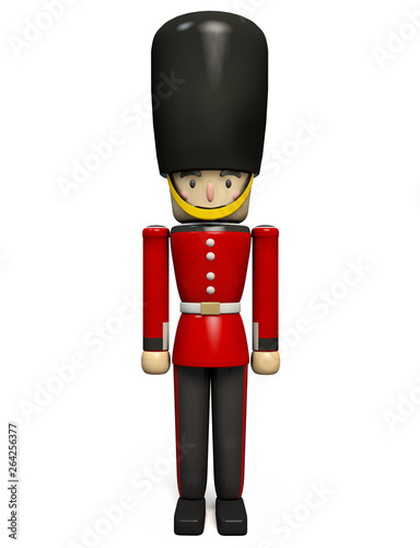 Photo  Queen's Guard Wearing Buckingham Palace Soldier Uniform with Oversized Bearskin Hat
