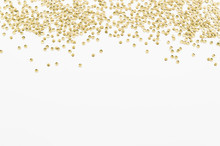 Golden Sequins Texture On White Isolated Background. Flat Lay With Copy Space
