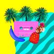 canvas print picture Aesthetic art collage. Beach Retro palm cassette.  Zine culture trend