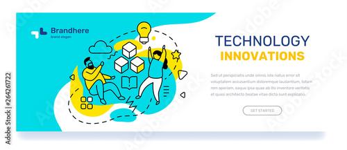 Koncepcja innowacji technologii z tekstem. Wektorowy biznesowy szablon z ilustracją ludzie z żółtą żarówką, książka na błękitnym tle.
