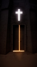 Church With Light Cross And Ol...