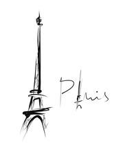 Eiffel Tower, Simple Drawing, Sketch