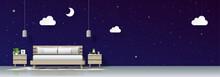Modern Bedroom With Night Sky ...