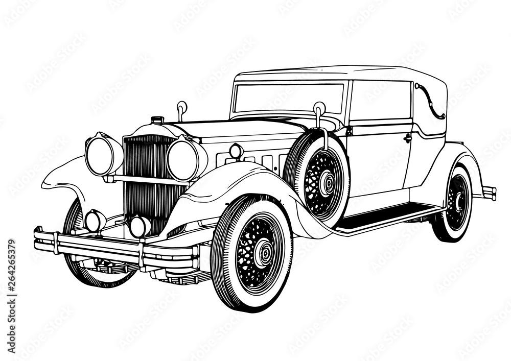 Fototapeta old car sketch vector
