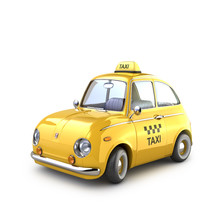 Vintage Yellow Taxi On A White Background. 3D Illustration