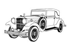 Old Car Sketch Vector