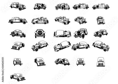 zestaw szkiców wektorowych samochodów zabytkowych