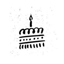 Birthday Cake Hand Drawn Vector Illustration
