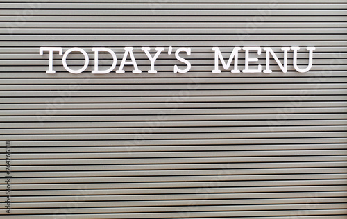 Fotografía Today's menu written with white plastic letters on grey board with copy space