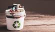 Leinwandbild Motiv battery recycle bin