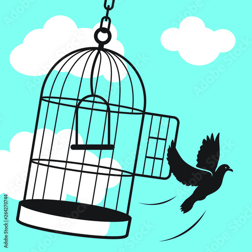 Free Bird from Cage Wallpaper Mural