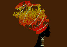 Portrait Beautiful Silhouette African Woman In Traditional Turban, Kente Head Wrap Afro, Traditional Dashiki Printing Batik Style Tiger Pattern With Cute Animal Elephants. Vector Isolated Or Brown
