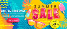 Summer Sale Bright Poster, Hot...