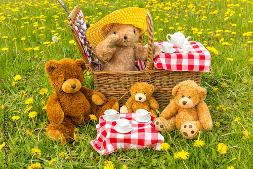 Teddy Bear's Picnic in summer with bright yellow dandelions in lush green meadow. Concept: happy childhood memories