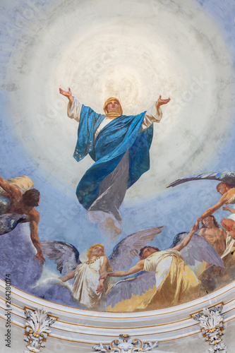 CATANIA, ITALY - APRIL 6, 2018: The fresco of Assumption of Virgin Mary in church Basilica Maria Santissima dell'Elemosina by Giuseppe Sciuti (1896).