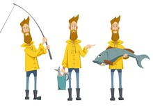Fisherman In A Yellow Jacket With A Bucket Of Fish, A Fisherman Pulling A Fishing Rod, A Fisherman With A Huge Fish In His Hands, Set