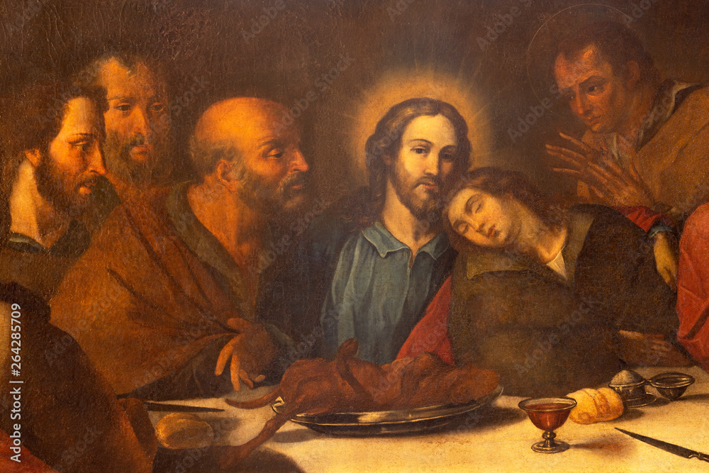 Fototapety, obrazy: CATANIA, ITALY - APRIL 7, 2018: The detail of the painting of Last Supper in church Chiesa di San Benedetto by unknown artist.