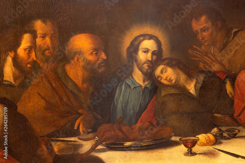 CATANIA, ITALY - APRIL 7, 2018: The detail of the painting of Last Supper in church Chiesa di San Benedetto by unknown artist.