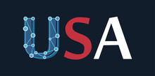 United States Of America - USA Label In Colors Of National Flag Isolated On Dark Blue Color. First Capital Letter In Style Of Network And Links Shows A Modern Of This Country And Future Prospects.