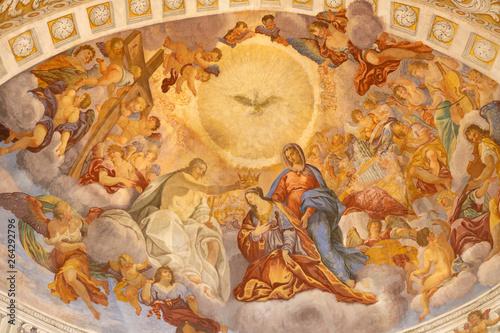 CATANIA, ITALY - APRIL 8, 2018: The glory of Santa Agata in church Chiesa di Sant'Agata al Borgo by Giovanni Lo Coco from 18. cent.