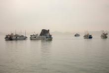 Tour Boats Around Kissing Rock In Ha Long Bay Vietnam