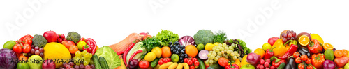 Poster Légumes frais Panorama fresh fruits and vegetables isolated on white background.