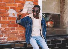 Happy Smiling African Man Taki...