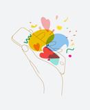 Fototapeta Dinusie - Hand phone love messages