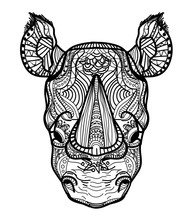 The Head Of A Rhinoceros. Meditation, Coloring Of The Mandala. Fluffy Ears, Big Horn On The Nose. Drawing Manually, Templates. Strips, Points, Arrows. Spots Of Watercolor Paint, Spray. Print, Logo.