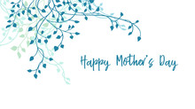 Happy Mother's Day Design, Gorgeous Pretty Ivy Border Design With Text Or Lettering. Mothers Day Vector Card Or Sign.