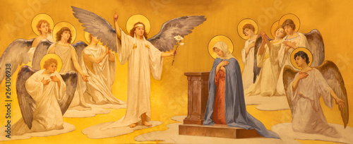 Photo  ACIREALE, ITALY - APRIL 11, 2018: The fresco of Annunciation in Duomo - cattedrale di Maria Santissima Annunziata by  Giuseppe Sciuti (1907)