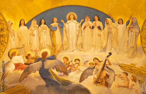 Photo  ACIREALE, ITALY - APRIL 11, 2018: The fresco Choir of angels and the virgins in Duomo - cattedrale di Maria Santissima Annunziata by  Giuseppe Sciuti (1907)