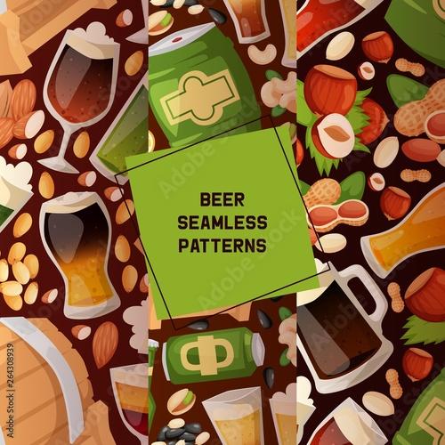 Beer in beerhouse brewery vector seamless pattern beermug beerbottle with nuts s Canvas Print
