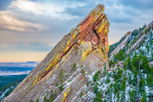Beautiful Spring Sunset At Flatirons In Colorado