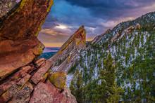 Beautiful Spring Sunset At Flatirons In Colorado