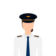 Isolated Female Pilot Image. Vector Illustration Design