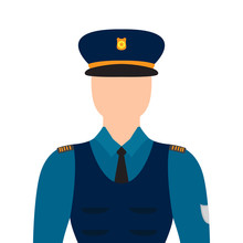 Isolated Policeman Character Image. Vector Illustration Design